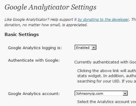 Google Analyticator Settings
