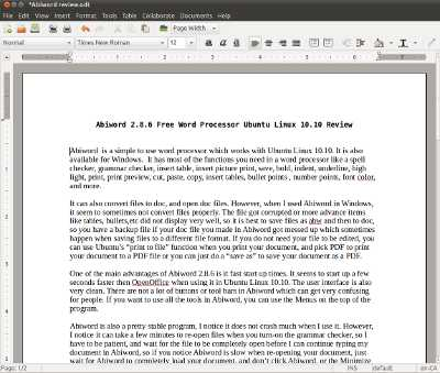 abiword is a simple to use word processor which works with ubuntu linux 1010 it is also available for windows it has most of the functions you need in a
