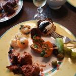A large sampling of tapas, served with dry sherry