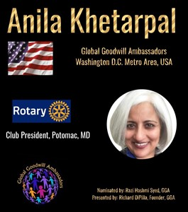 Anila Khetarpal - Washington D.C. - Global Goodwill Ambassadors