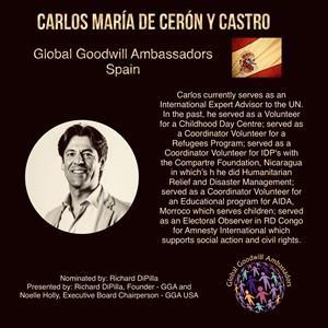 Carlos María de Cerón y Castro - Spain- Global Goodwill Ambassador