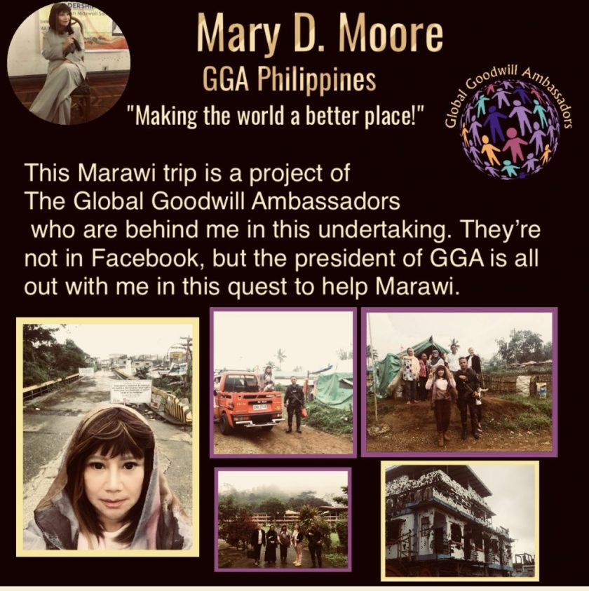 Global Goodwill Ambassador - Mary D Moore helping Marawi - Philippines