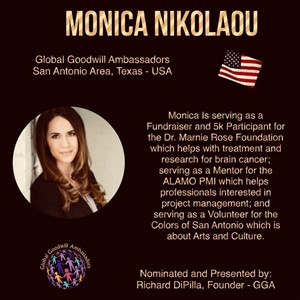 Monica Nikolaou - Texas - Global Goodwill Ambassador