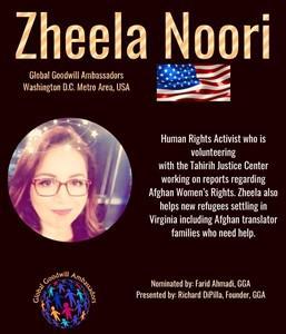 Zheela Noori - Global Goodwill Ambassador