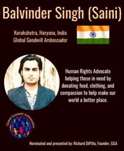 Balvinder Singh - GGA - is a Human Rights Advocate helping those in nedd by donating food - clothing and compassion