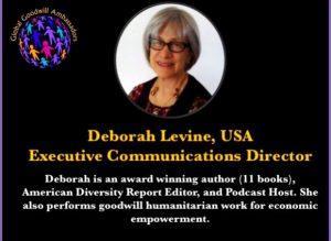 Deborah Levine - Global Goodwill Ambassadors USA - performs goodwill humanitarian work for economic empowerment