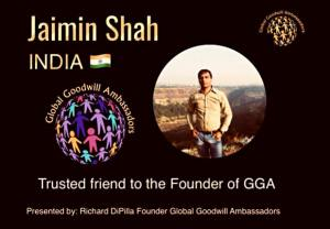 Jaimin Shah - Global Goodwill Ambassador India - helps children from orphan homes