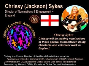 Chrissy Sykes - Charter Member Global Goodwill Ambassadors (GGA) and Director of Nominations & Engagement England