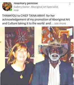 Formal reply from Rosemary Penrose to Chief Taima