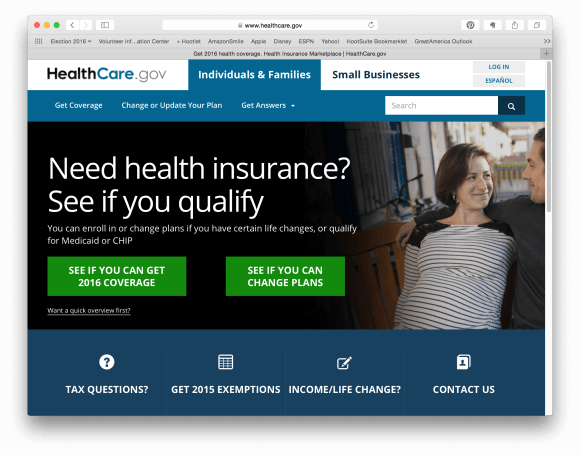 Screen Capture of Healthcare.gov Home Page.