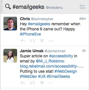 Tweetdeck #emailgeeks tab