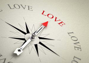 Compass with arrow pointing to the word love. 3D render image suitable for love coaching or couselling concept 3D render with depth of field effect