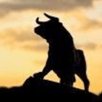 The Stock market bull is enjoying on the mountain sunset