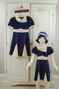 2T 1940's Inspired Dress and Hat set in Navy and Cream