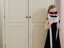 Celebritot Incognito Mustache Disguise Dress in Black and White jersey knit