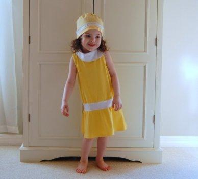 Sunny yellow and white drop waist stretch jersey knit dress