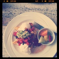 Poached eggs, polenta pancakes, guacamole