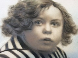 Photographic pastel of a boy, ca. 1880 closeup