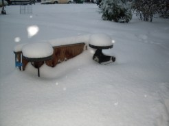 Billy's Overturned Wagon, Front Yard, Very Snowy - October 10, 2009