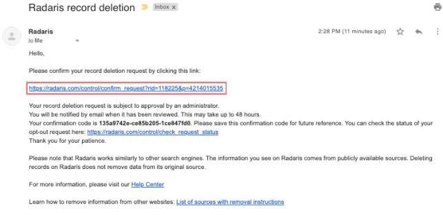 radaris removal email