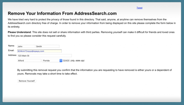remove yourself from address search opt out removal