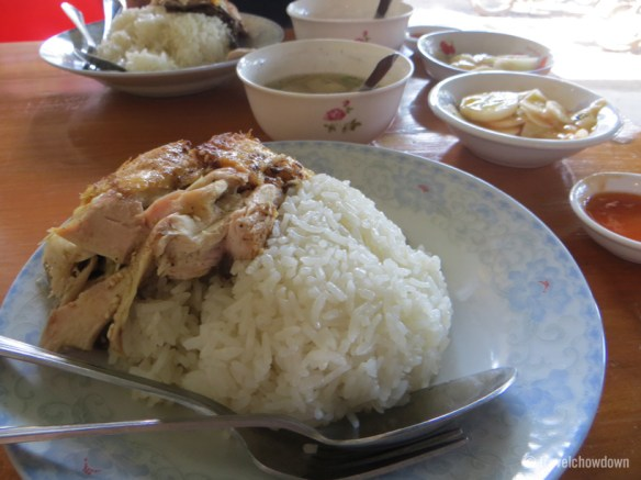 Chicken rice with chilli cucumber salad and chicken soup
