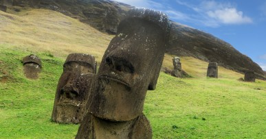 Moai at the Easter Island quarry