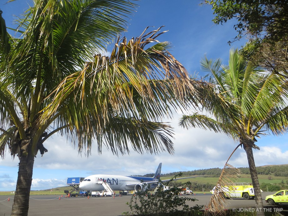 The LATAM dreamliner at Rapa Nui Airport on Easter Island