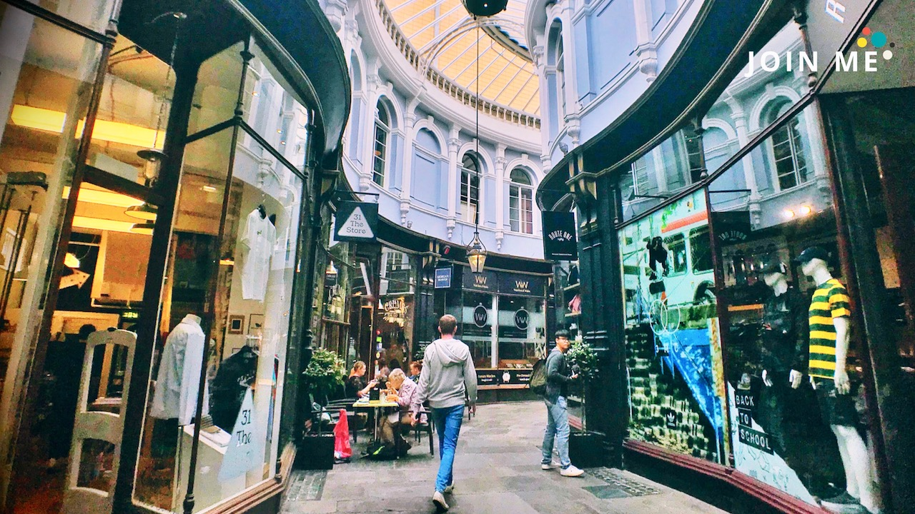 Cardiff arcade cover photo © Take the JOIN ME UK road trip