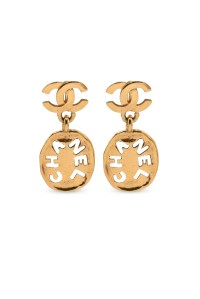 Chanel Vintage Cut Out CC Logo Drop Clip On Earrings ...