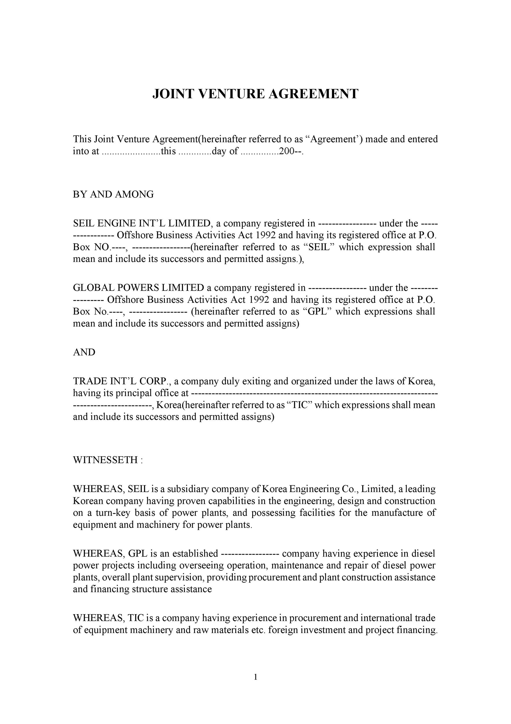A brief description of the purpose of the joint venture Joint Venture Agreement Template Joint Venture Letters