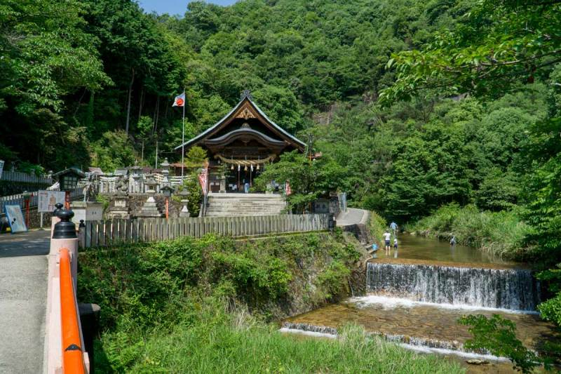 Shrine and waterfall river