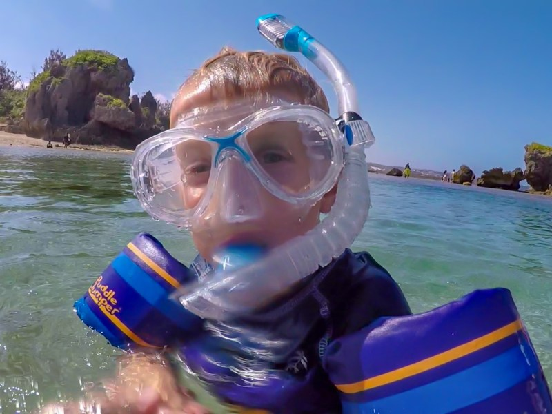 How to Snorkel- Boy snorkeling in Japan