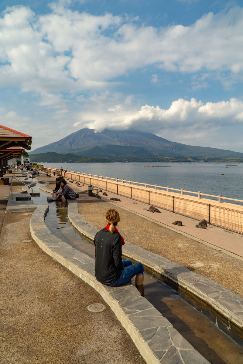 Sakurajima- foot bath with a view