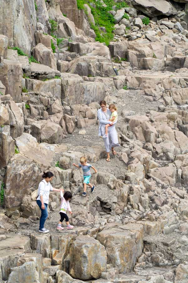 Lake Biwa family walking on Tojinbo Cliffs