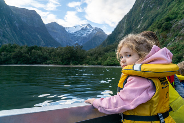 Milford Sound girl on boat