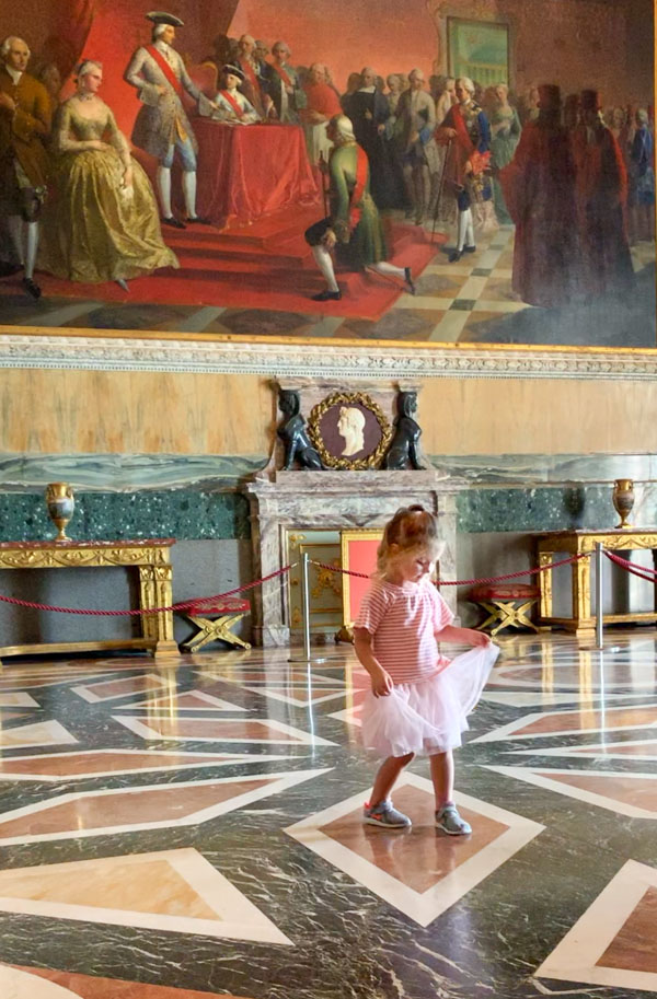 Caserta Palace girl dancing in ballroom