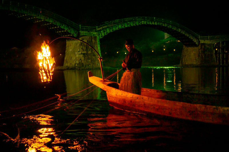 Ukai cormorant fishing at night by kintai bridge