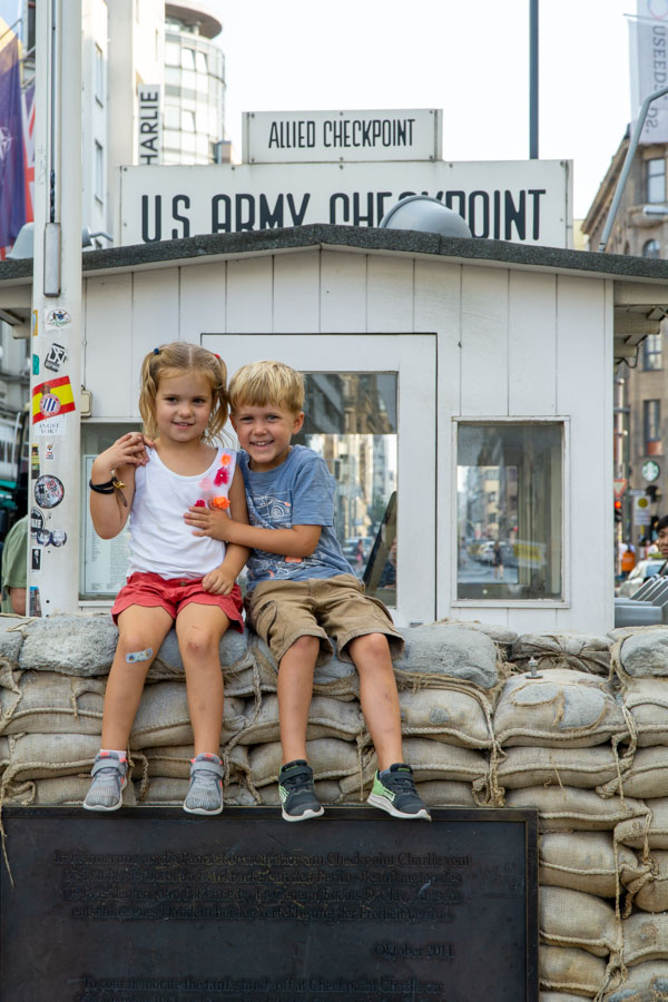 Berlin with kids at checkpoint charlie