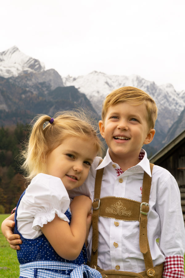 Kids dressed in traditional clothing in Garmisch