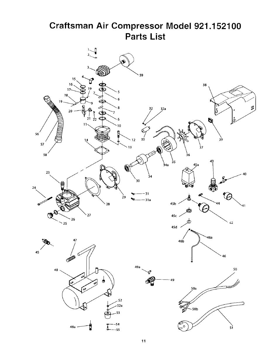 Craftsman Air Compressor Parts Manual