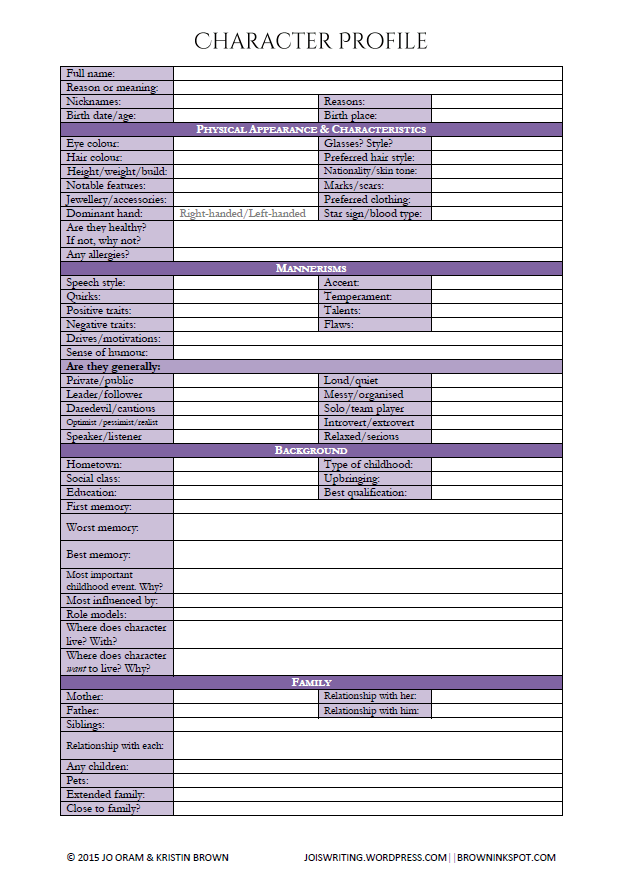 Character Profile And Interview Worksheet  A Writer's