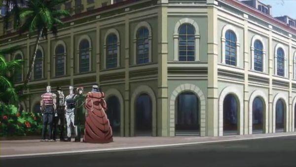 ジョジョ アニメ 第三部 第7話 シンガポールのホテル前