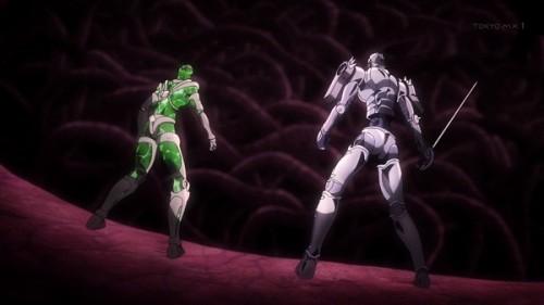 ジョジョ アニメ 第三部 第17話 肉の芽を見て驚くハイエロ&シルチャリ