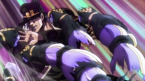 ジョジョ アニメ 第三部 第20話 スタープラチナに攻撃される承太郎