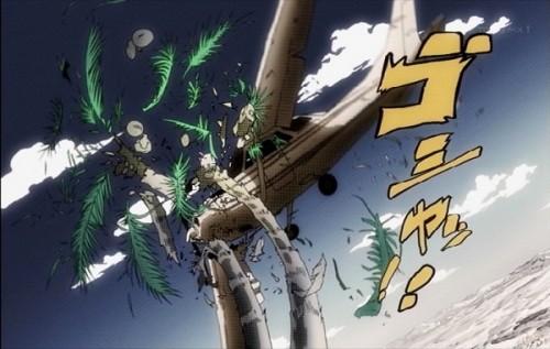 ジョジョ アニメ 第三部 第19話 木にぶつかるセスナ