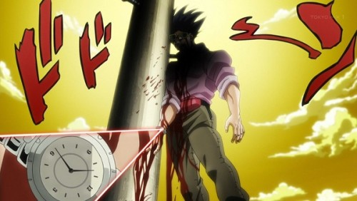 ジョジョ アニメ 第三部 第26話 吹っ飛んで電柱に突き刺さった旅人