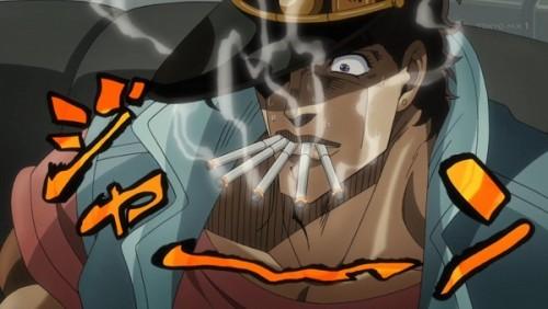 ジョジョ アニメ 第三部 第27話 5本たばこをくわえるオインゴ