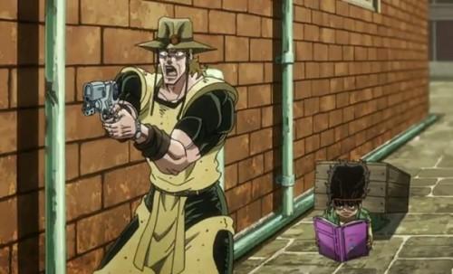ジョジョ アニメ 第三部 第37話 下水工事の二人に銃を構えるホル・ホース