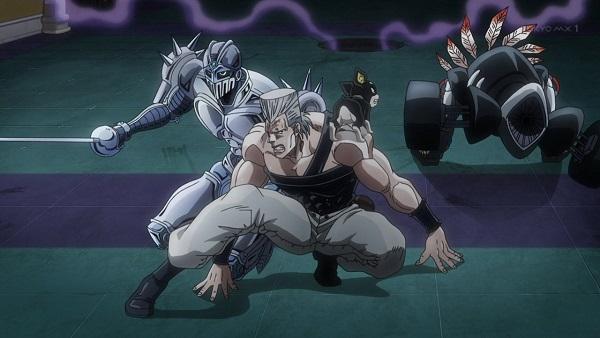 ジョジョ アニメ 第三部 第43話 警戒するポルナレフとイギー